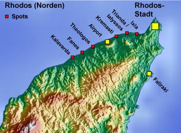 Rhodos Karte Flughafen.Rhodos Kite Windsurfing Spots