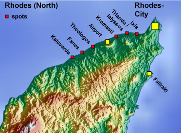 map of rhodes - north